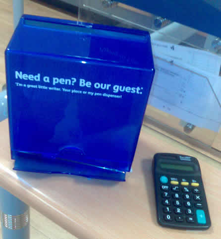Free pen at Barclays