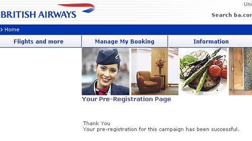 BA pre-registration page