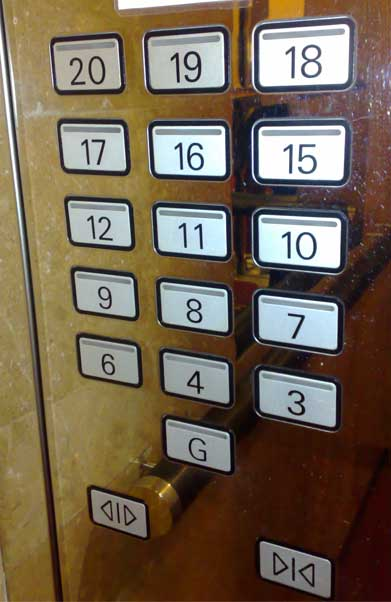 Lift panel with numbers missing