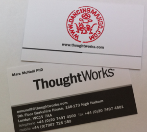 ThoughtWorks business card with stamped URL