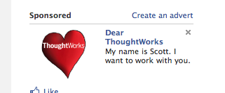 Dear ThoughtWorks, my name is scott and I want to work with you